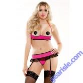 Xposed Shelf Bra Garter Skirt Pasties Open Panel Panty Set Risque Q166