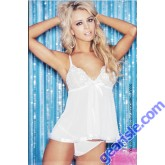 Shirley Hollywood 96121 Sequin Embroidery Sheer Net Babydoll