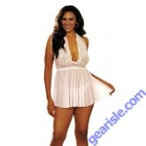 Shirley Hollywood Stretch Mesh and Lace Babydoll Bow 96164 Model