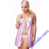 Printed Charmeuse Babydoll With G-String Style 5069