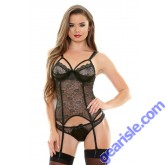 Gilda Metallic Lace Bustier Panty Tease B272 Fantasy Lingerie