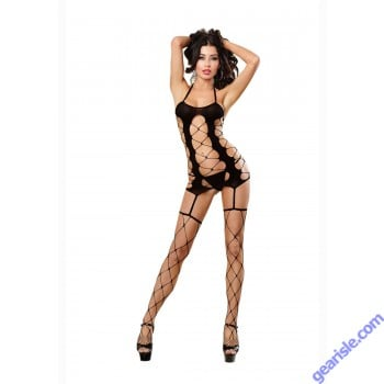 Dreamgirl 0199 Fence Net Gater Dress With Opaque Cup Lingerie