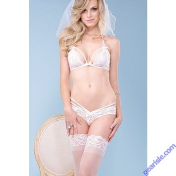 loral Lace Strappy Cut Out Bralette Top Bra Panty - Sexy Bar Set Lingerie