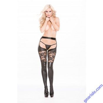 Lace Wet Look Garter Tights Kitten-Boxed 7-6602K
