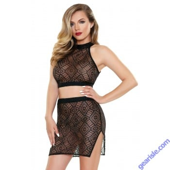 Tia Geo Top Matching Skirt Tease B462
