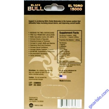 Black Bull El Toro Pill 15000 Premier Male Enhancer Blue