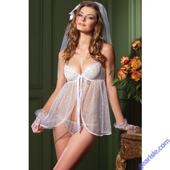 Sexy Floral Fantasy Bride 2-Piece Set Adult Women Lingerie Be Wicked