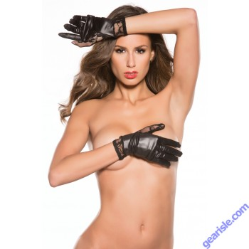Lace Wet Look Gloves Kitten-Boxed G-4002K