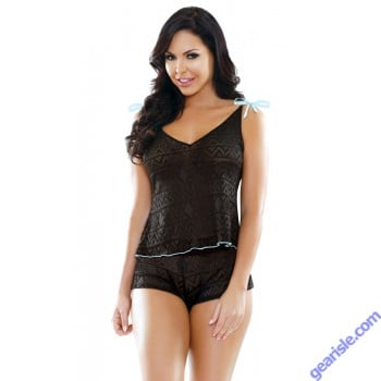 Nadia Geo Lace Shoulder Tie Top Shorts Set Sleep S164