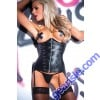 Tempt Tease Corset Faux Leather 11-7402