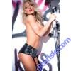 Faux Leather Chains Pleasure Shorts 15-5402