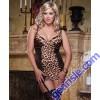 Leopard Animalistique Chemise Garter Slip Thong Plus S DG7933