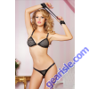 Black Fishnet Bra Set Handcuffs 9808P Seven' til Midnight