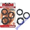 Ram Beaded Cock Rings Black Super Stretchy
